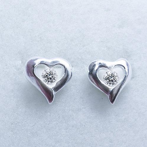 Natural white Diamond 2.75mm Silver/ Gold/Platinum heart stud earrings