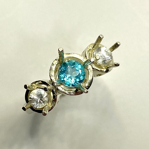 0.5ct Natural Paraiba blue Apatite 925 Silver / Gold/ Platinum halo ring