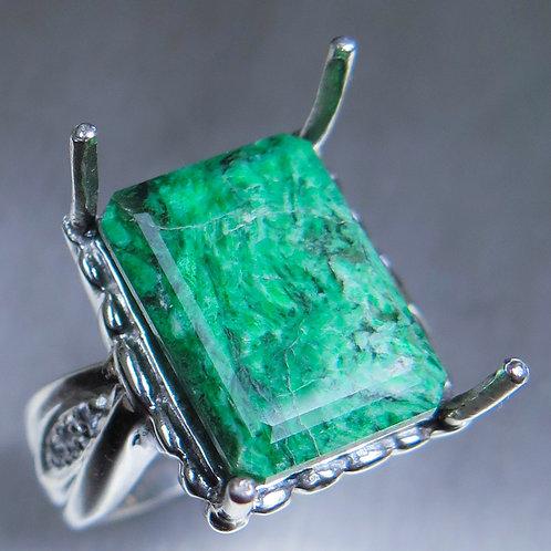 12.4ct Natural Green Maw sit-sit 925 Silver / Gold/ Platinum ring