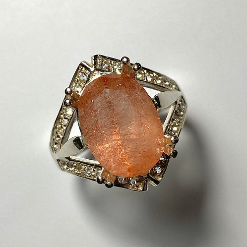 4.55ct Natural  Strawberry Quartz 925 Silver / Gold/ Platinum ring