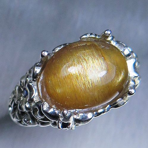 8.15ct Natural Cats eye Sunstone 925 Silver / Gold/ Platinum ring