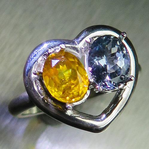 Natural Sphalerite & Tanzanite 925 Silver / Gold/ Platinum rin