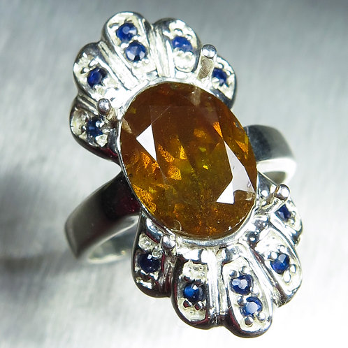 4.90ct Natural Sphalerite 925 Silver / Gold/ Platinum ring