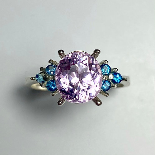 3.25ct Natural Patroke Pink Kunzite 925 Silver / Gold/ Platinum ring