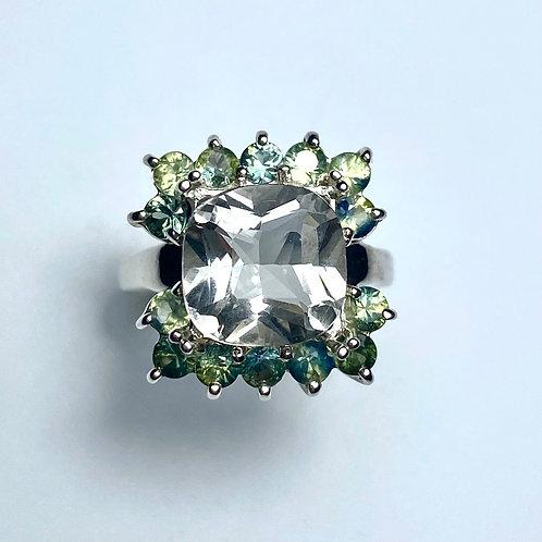 3.5cts Natural Aquamarine Silver/ Gold /Platinum engagement ri