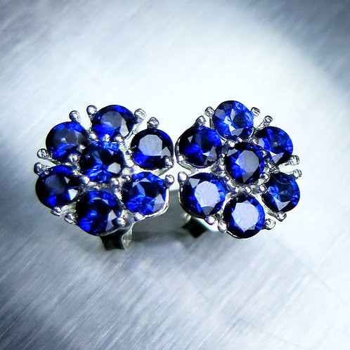 Natural Blue Sapphires Silver/ Gold/Platinum floral stud studs earrings