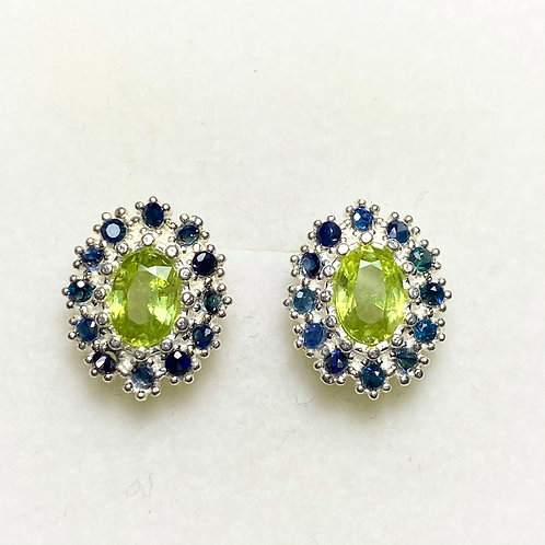 1.5ct Natural Canary Yellow Titanite Sphene Silver /Gold pear stud earrings
