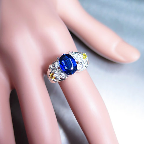 2.55cts Natural Blue Kyanite 925 Silver / Gold/ Platinum ring