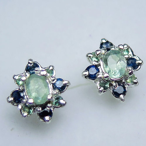 0.65cts Natural Alexandrite 925 Sterling Silver stud earrings