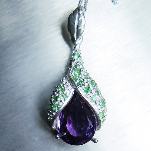 5.3ct Natural purple Amethyst Silver / Gold / Platinum pendant