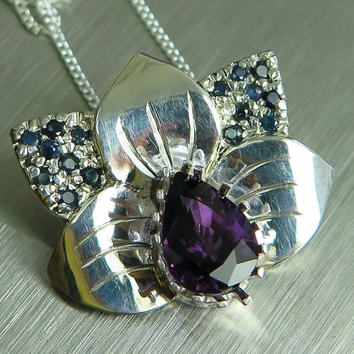 1.30ct Natural Purple Spinel 925 Silver / Gold / Platinum orchid pend
