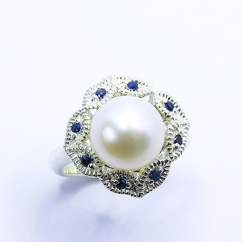 5ct Natural Freshwater Pearl white 925 Silver / Gold/ Platinum engagement ring