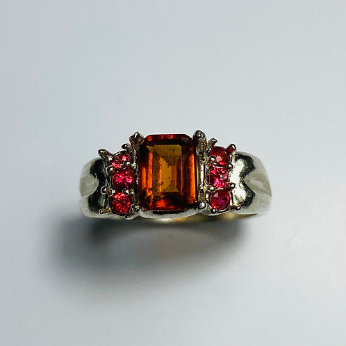 1.35ct Natural Cinnamon Orange Hessonite Garnet 925 Silver / Gold/ Plati
