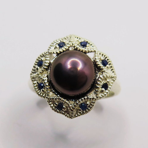 Natural Freshwater Pearl Brown Purple 925 Silver / Gold/ Platinum ring
