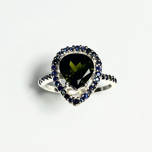 1.8ct Natural Forest tourmaline 925 Silver / Gold/ halo ring