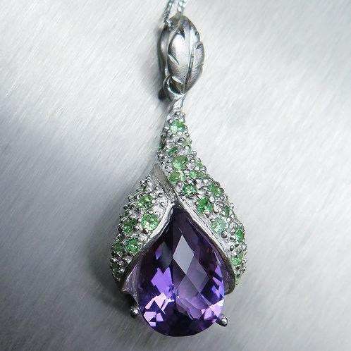 4.8ct Natural purple Amethyst Silver / Gold / Platinum pendant