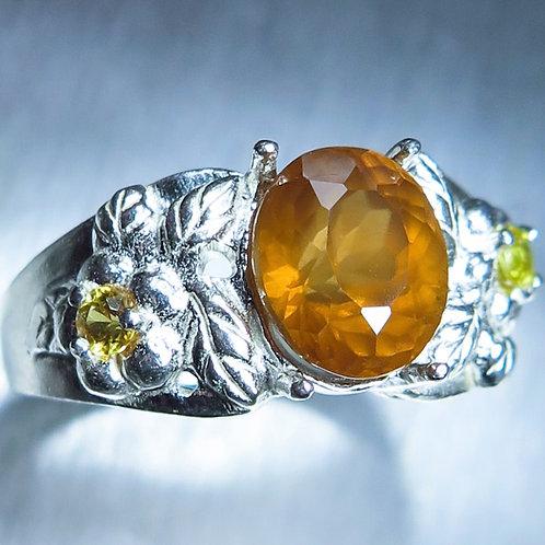 3.6ct Natural Cinnamon Orange Hessonite Garnet 925 Silver / Gold/ Platinum ring