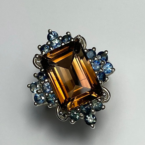 8.6cts Natural Imperial topaz peach brown 925 Silver/ Gold/ Platinum ring