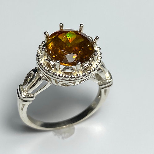5.2ct Natural Orange Sphalerite 925 Silver / Gold/ Platinum ring