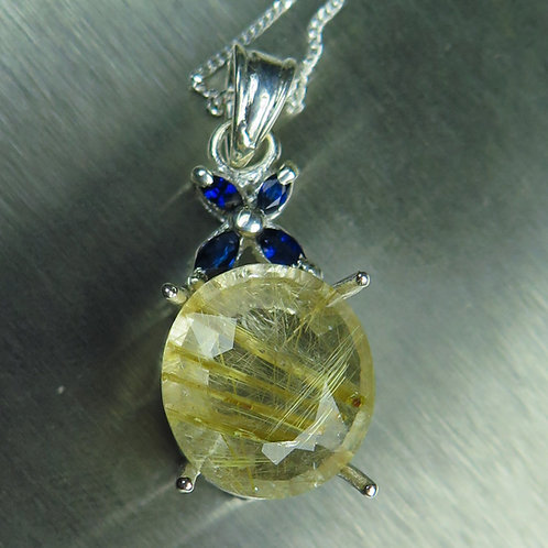 5.60ct Natural Rutile Quartz Silver / Gold / Platinum pendant on chain