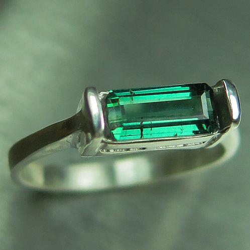Natural green with bluish hint tourmaline 925 Silver / Gold/ Platinu