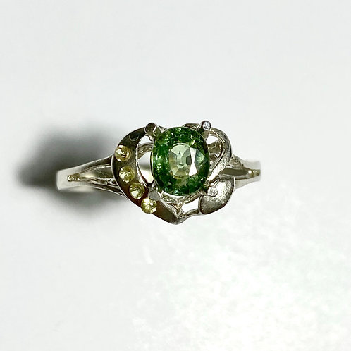 0.7cts Natural demantoid garnet 925 Silver / Gold/ Platinum ring