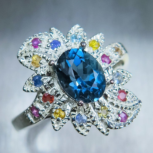 1.7cts Natural Topaz London Blue 925 Silver / Gold/ Platinum ring