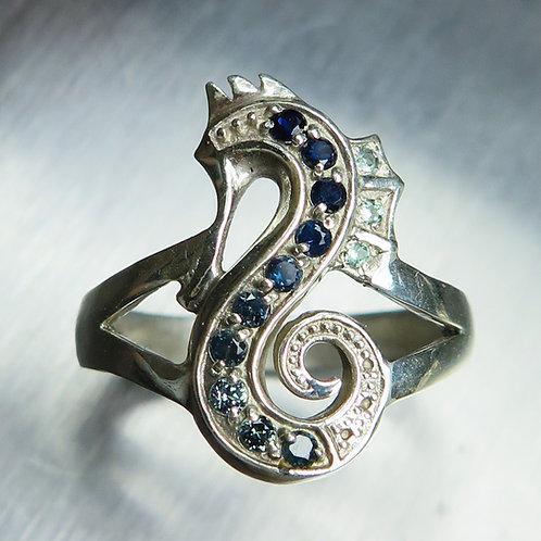 Natural blue sapphires 925 Silver / Gold/ Platinum seahorse unisex ring