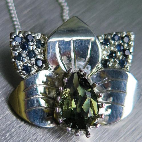Natural Kornerupine green brown 925 Silver / Gold / Platinum orchid pendant