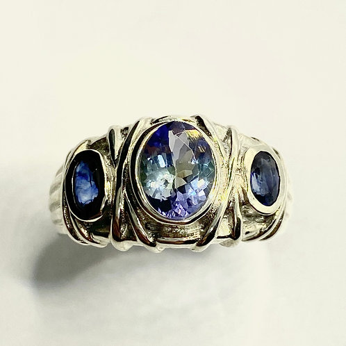 1.15ct Natural Blue  Tanzanite 925 Silver/ Gold/ Platinum unisex ring