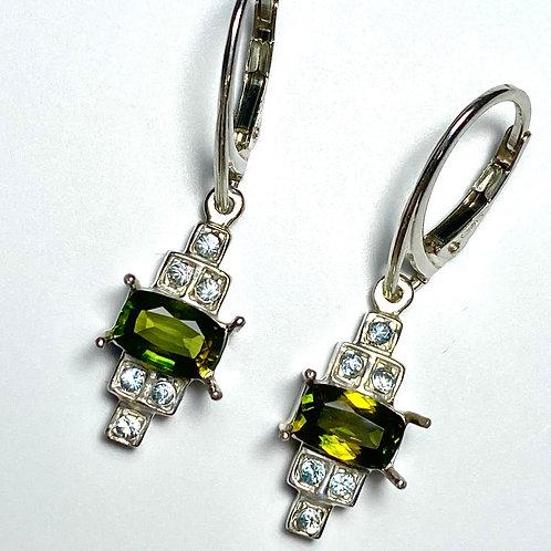 Natural Titanite Sphene Silver /Gold / Platinum dangling earrings drop