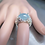 Thumbnail: 7.65cts Natural blue Aquamarine cats eye 925 Silver / Gold/ Platinum ring