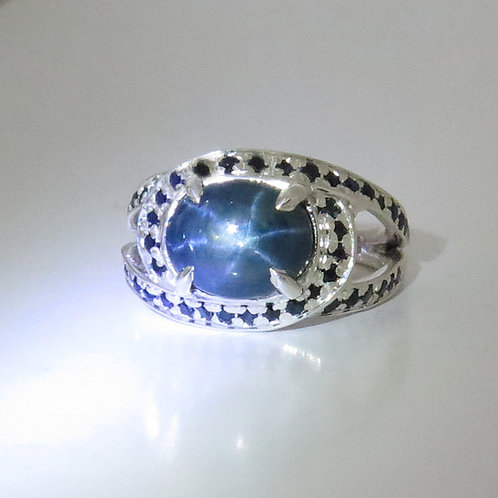 4.95ct Natural Ray Star Sapphire Silver/ Gold / Platinum ring