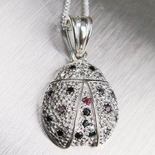 Natural sapphires & spinel Silver / Gold / Platinum ladybird pendan