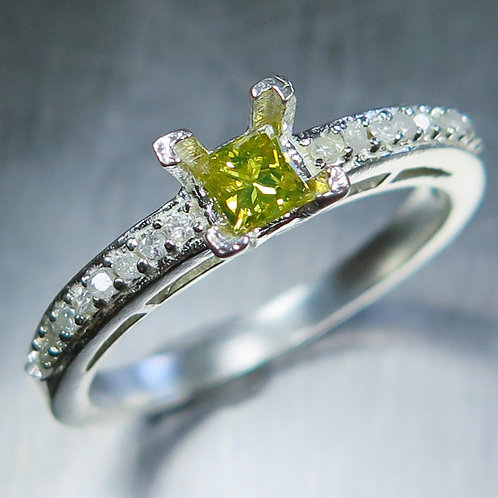 0.2cts Natural Yellow Diamond 925 Silver / Gold/ Platinum ring