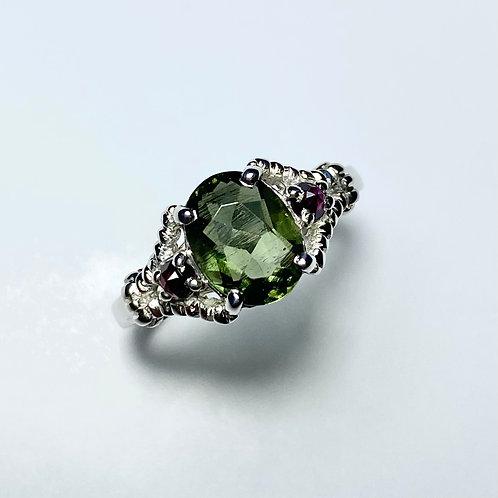 1.35ct Natural Moldavite, forest green 925 Silver / Gold/ Platinum ring
