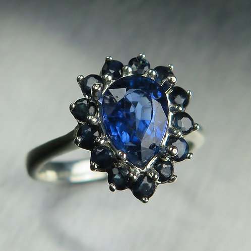 1.55ct Natural royal blue Kyanite 925 Silver / Gold/ Platinum cluster ring