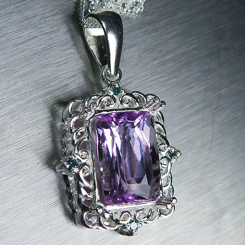 5.35ct Natural pink Kunzite Silver / Gold / Platinum pendant on ch