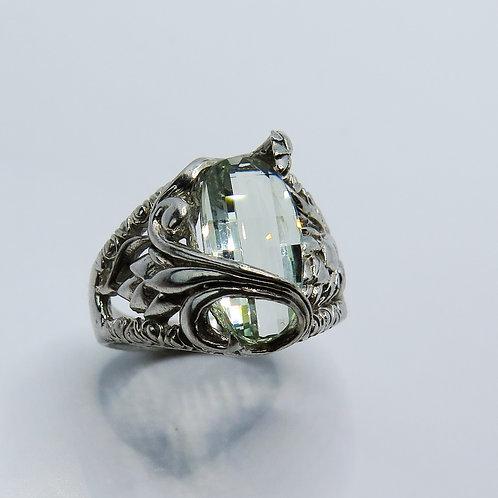 2.45cts Natural Prasiolite Amethyst vermarine 925 Silver / Gold/ Platinum ring