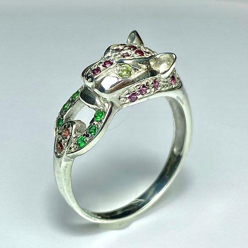 Natural Rhodolite Garnet 925 Silver / Gold/ Platinum panther ring