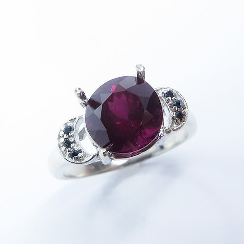 3.7cts Natural Raspberry Rhodolite Garnet 925 Silver / Gold/ Platinum ring
