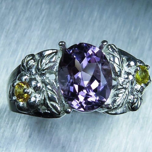 1.90ct Natural Amethyst 925 Silver / Gold/ Platinum