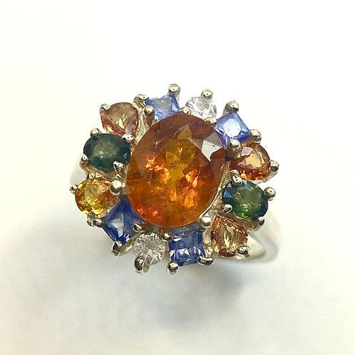 2.05cts Rare Natural orange Clinohumite 925 Silver / Gold/ Platinum ring