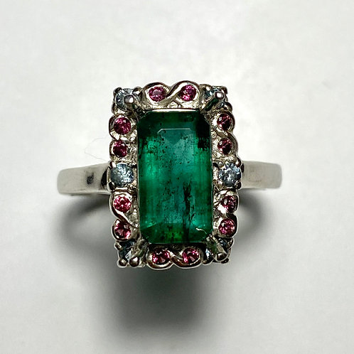 1.6cts Natural Colombian Emerald 925 Silver / Gold/ Platinum ring