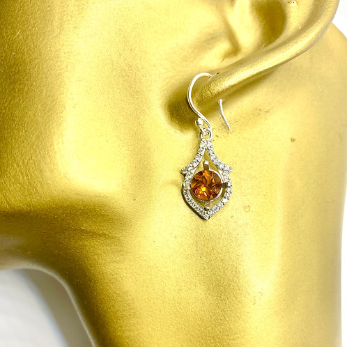 3.4ct Natural Imperial Topaz 925 Silver / Gold/ Platinum drop earrings