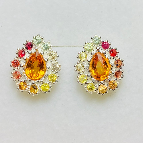 1.45ct Natural Sunset Orange sapphires Silver/ Gold/Platinum stud earrings