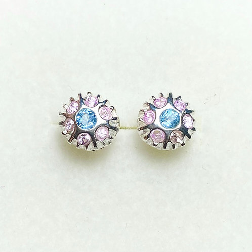 Natural Aquamarine Silver/ Gold/Platinum stud earrings