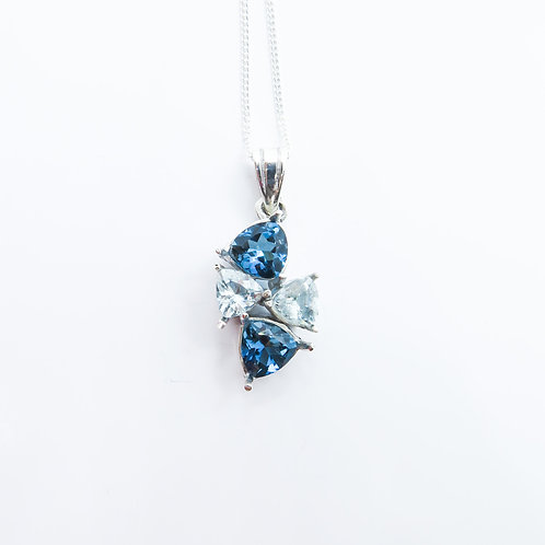 Natural Blue Topaz & aquamarine Silver / Gold / Platinum pendant