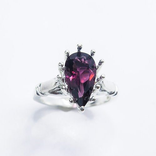 Natural Tourmaline Rubelite (Rubellite) 925 Silver / Gold/ solitaire ring