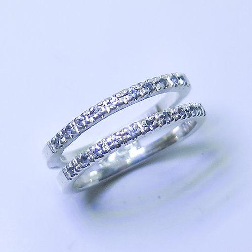 Natural Diamonds 925 Silver / Gold/ Platinum wedding band stackable ring